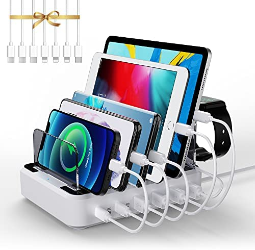 LENUMB PD USB Multiple Charging Station, 80W 6-Port USB Charging Station with 2 PD 20W USB-C Charger & 7 Mixed Cables, Compatible Apple iPhone, iPad, Cell Phone, Tablet, and More, White[UL Certified]