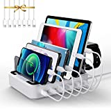 LENUMB 2PD USB Multiple Charging Station, 80W 6-Port Charging Station with 20W USB-C &QC3.0 Charger, Fast Charger for i Phone13 Series, for iOS &Android Phone, Tablet and More, White[UL Certified]