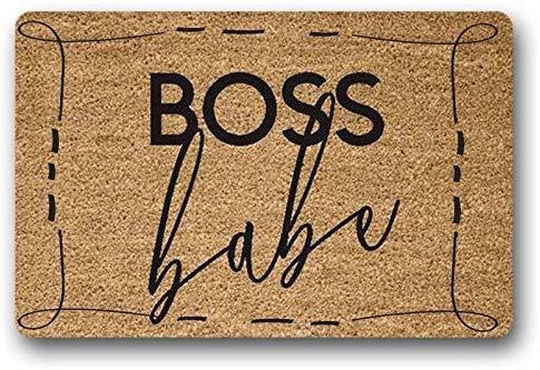 Yolocal Boss Babe Paillasson Peint à la Main en Coco Mompreneur Décoration de la Maison, du Bureau Revendeur en Ligne Etsy Ebay Poshmark Tapis d