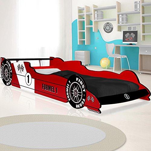 Deuba Kinderbett Autobett Bett 200x90cm mit Lattenrost und Rausfallschutz MDF Holz Rennbett Kindermöbel Jugendbett Bettgestell rot