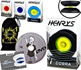 Henrys Cobra YoYo Professionnel (4 Couleurs) + Apprendre Yo Yo DVD + Ficelle & Sac! Meilleures Yo-Yos Pro en Europe, idéal pour Les Enfants et Adultes! (Noir/Jaune)