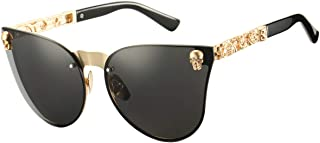 Cat Eye Steampunk Sunglasses Rimless Skull Design Goggles for Women