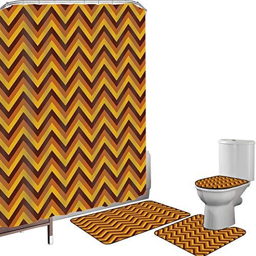 Juego de cortinas baño Accesorios baño alfombras Chevron amarillo Alfombrilla baño Alfombra contorno Cubierta del inodoro Patrón de Chevron con líneas amarillas y marrones Retro clásico,caléndula marr