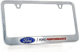Ford Performance Wordmark Chrome Plated Brass Metal License Plate Frame Holder Wide Bottom Engraved 2 Hole