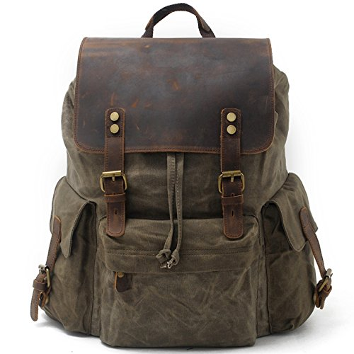 SUVOM Vintage Canvas Backpacks Genuine Leather 15.6' Laptop Rucksack Waterproof School Bag Travel Casual Daypack(Army Green)