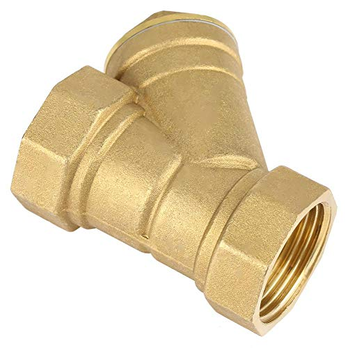 """Akozon Brass Strainer, 1"""" BSPP Female Thread Y Shaped Brass Strainer Filter Valve Connector for Water Oil Separation"""