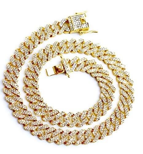 Cadena Cubana, Cadena Cubana Iced Out 20mm, 18KGold / Cadena de collar plateado, con caja de regalo . (gold 12mm, 18)