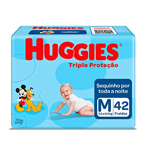 Kit: 2unid. Fralda Infantil Descartável Monica Huggies Tripla Proteção Mega M 42 Unidades