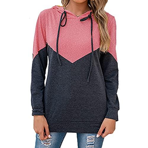 Merlvida Sudaderas Mujer con Capucha Suéter Jersey Mujer con Bloques de Color Camiseta Manga Larga Mujer Sudadera con Cordón Tops Casuales Ropa Mujer para Primavera/Otoño/Invierno