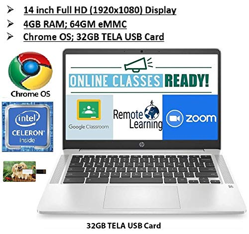 2020 Newest HP Chromebook 14 Inch FHD 1080P Laptop with Webcam, Intel Celeron N4000 up to 2.6 GHz, 4GB RAM, 64GB eMMC, Webcam, WiFi 5, Chrome OS | 32GB Tela USB Card