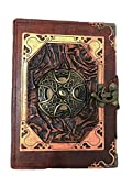 Woodland Leathers - Cuaderno de diario con cruz celta de piel auténtica (11,4 x 15,2 cm)