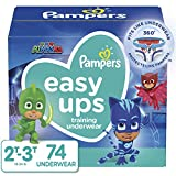 Pampers Easy Ups Pull On Disposable Potty Training Underwear for Boys and Girls, Size 4 (2T-3T), 74 Count, Super Pack (Packaging May Vary)