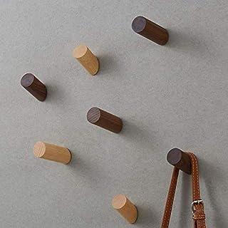 木製フック おしゃれ ウォールフック 壁掛けフック 洋服掛け コートフック コートハンガー 6点セット 帽子 玄関 寝室 ネジ付き (ウォルナット3*6CM)