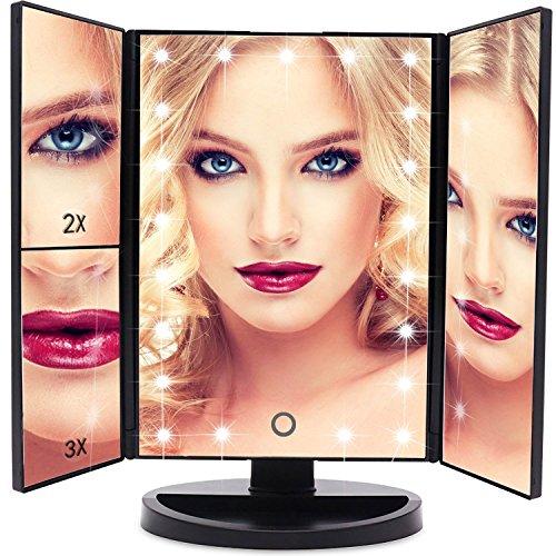 Miroir de Maquillage EmaxDesign 21 LED lumineux Miroir de Cosmétique avec Triple de Grossissant Écran Tactile, Charge USB Rotation Libre 180 °Miroir de Table de Comptoir (NOIR)