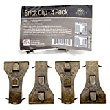 Holiday Joy - 4 Metal Brick Clip Fastener Hooks - Holds Up to 25 Pounds - Fits Brick 2-1/8 inch to 2-1/2 inch in Height - Made in USA (4 Pack)