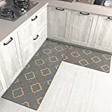 Tsosginaog Kitchen Rug 2 Pieces Geometric Patterns Non-Slip Soft Kitchen Mat Water Absorption and Rug Doormat Carpet Set,N,5080+50150
