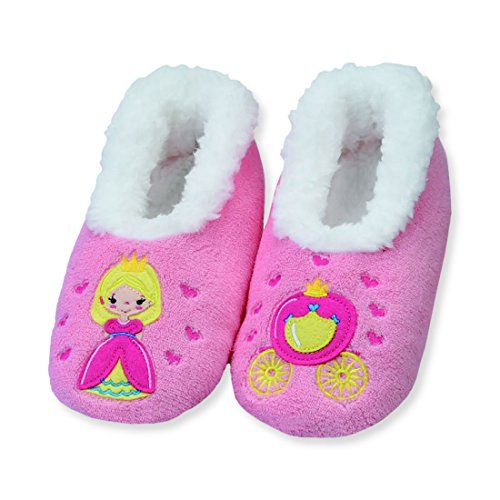 Snoozies Kidz Embroidered Fairytale Non Skid Slipper Socks - Princess, Large