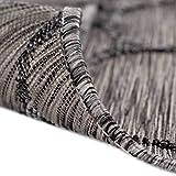 mynes Home Outdoor Teppiche In- & Outdoorteppich Flachgewebe Terrasse Garten Balkon geeigneter Teppich mit 3D Struktur Wetterfest Farbecht Lichtecht, Größe: 120 cm x 170 cm, Farbe: Grau - 4