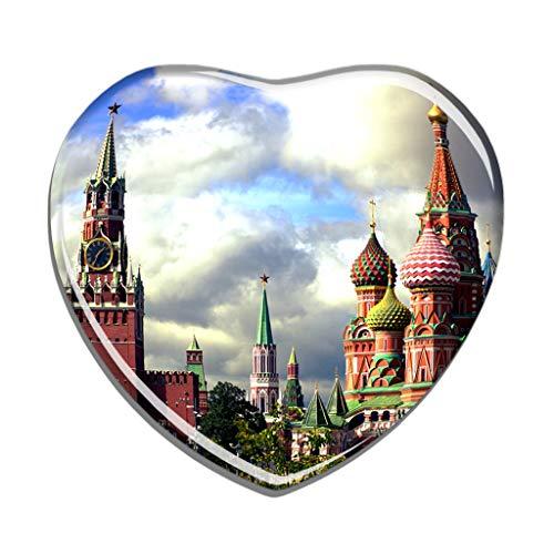 Hqiyaols Souvenir Turm Russlands Moskau Spasskaya Kühlschrankmagnet Herzform Kristall Kühlschrank Aufkleber Magnet Reisen Geschenk Sammlerstücke Andenken