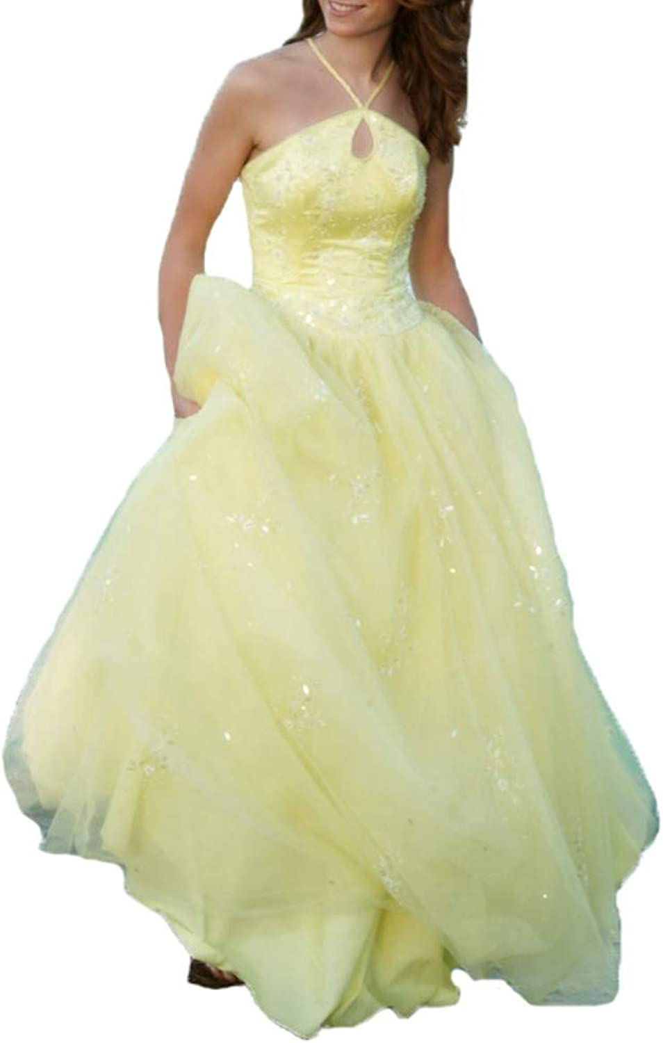 Liaoye Long Lace Prom Dresses Beaded Evening Dress Prom Yellow Evening Ball Gown Bridal Wedding Dresses