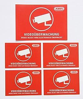 """5X ABUS """"Videoüberwachung Aufkleber 104x73 + 72x51 mm Kamera Überwachung videoüberwacht rot Sicherheit Einbruchschutz Objektschutz Warnhinweis Cam Dummy Anti Theft Schutz Sicherung"""
