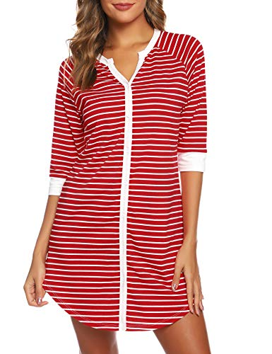Image of Comfy White and Red Nightshirt for Women - See More Colors