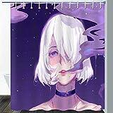 Gdmoon Mädchen Duschvorhang Sternenhimmel bunt psychedelischer Rauch-Duschvorhang abstrakte Kunst weiblich Cartoon Stoff Badezimmer Vorhang-Set 183 x 183 cm YLWHGD1091