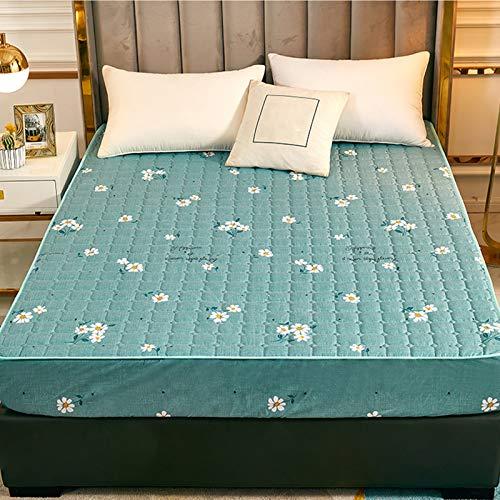 QSCV TILLGÄNGLIG THROUGHOUT THE YEAR, dubbelsäng madrasskydd, tvätta kviltat madrassskydd, komfort andningsbart madrassskydd – blå-grön 120 cm x 200 x 30 cm