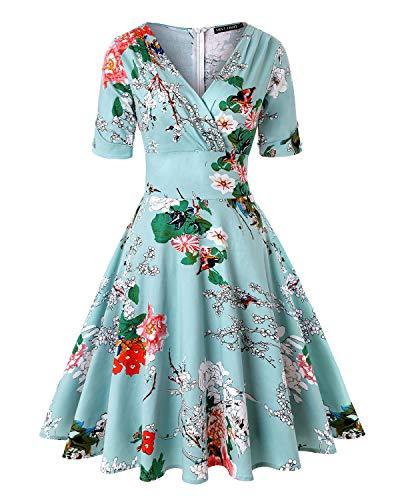 MINTLIMIT Damen Halbe Ärmel Tiefer V-Ausschnitt Classy Vintage Print Wickelkleid (Floral Blau,Größe XL)