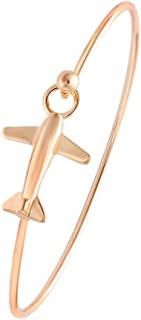 Easy Open Gold Silver and Rose Gold Airplane Hook Bangle Cuff Jewelry