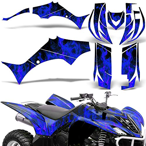 Wholesale Decals ATV Graphics kit Sticker Decal Compatible with Yamaha Wolverine 2006-2012 - Blue Flames