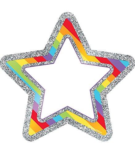 Carson Dellosa – Rainbow Glitter Stars Colorful Cut-Outs, Classroom Décor, 36 Pieces