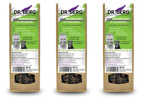 Dr. Berg Love-RINDERLUNGE mit Brennnessel: getreidefreies & gesundes Leckerli für Hunde - extra verträglich und lecker durch natürliche & hochwertige Zutaten (3 x 50 g)