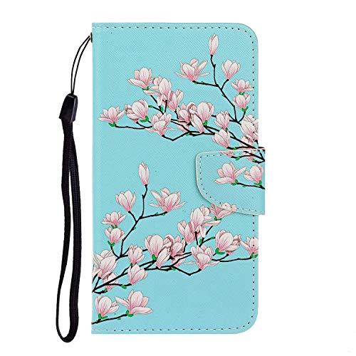 Nadoli Huawei P40 Lite Hülle,Rosa Blume Muster PU Leder Magnetisch Flip Brieftasche mit Handschlaufe Kartenslot Ständer Klapphülle für Huawei P40 Lite