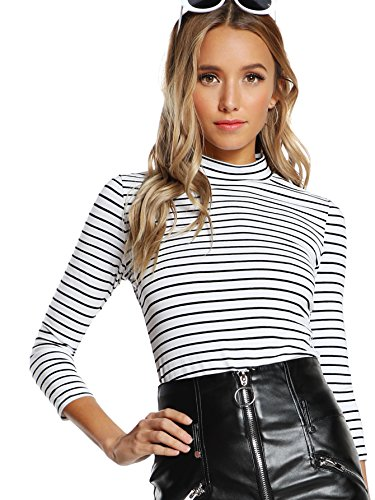 Floerns Women's High Neck, Long Sleeve Slim Fit Stretch Striped T-Shirts White and Black, L