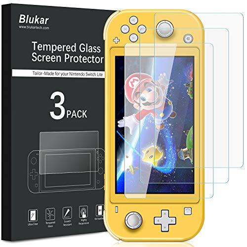 Blukar [Lot de 3] Verre Trempé pour Nintendo Switch Lite, Protection d'écran en Verre Trempé Film Protecteur Dureté 9H, sans Bulles, Ultra Clair, Anti-Rayures pour Nintendo Switch Lite