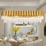 """MEELIGHTING W51"""" Luxury Modern Crystal Linear Chandelier Lights Pendant Ceiling Light Oval Raindrop Contemporary Chandeliers Lighting Fixture for Kitchen Island Dining Living Room Bedroom Gold"""
