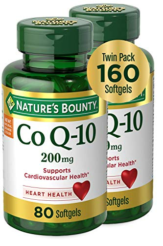 Nature's Bounty CoQ10 Dietary Supplement, Supports Cardiovascular and Heart Health, 200mg Twin Pack,...