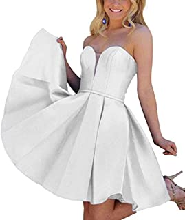 Botong Women's Sexy Sweetheart Cocktail Beidesmaid Gown Satin Short Prom Homecoming Dresses