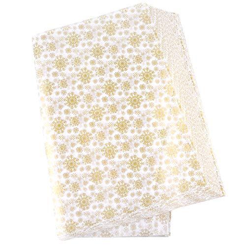 MIAHART 60 feuilles de papier de soie de flocon de neige de noël or 50 * 35 cm papier d'emballage de noël pour les décorations de sacs de bricolage et d'artisanat