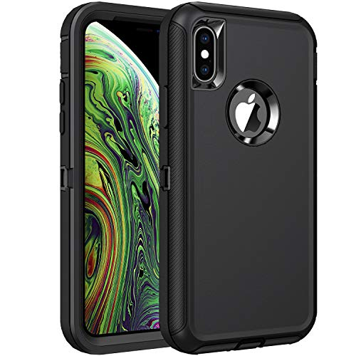 RegSun for iPhone Xs Max Case,Shockproof 3-Layer Full Body Protection [Without Screen Protector] Rugged Heavy Duty High Impact Hard Cover Case for iPhone Xs Max 6.5-inch,Black