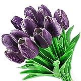 LUCY WEI 12 Stück Unechte Blumen Künstliche Tulpe für Hochzeiten, Haus Garten Party Blumenschmuck(Lila)