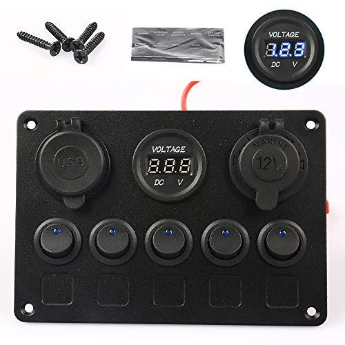 Interruptor basculante, interruptor basculante para vehículos de barco, panel de 5 velocidades, voltímetro y cargador doble USB de 4,2 V y encendedor de cigarrillos de 12 V