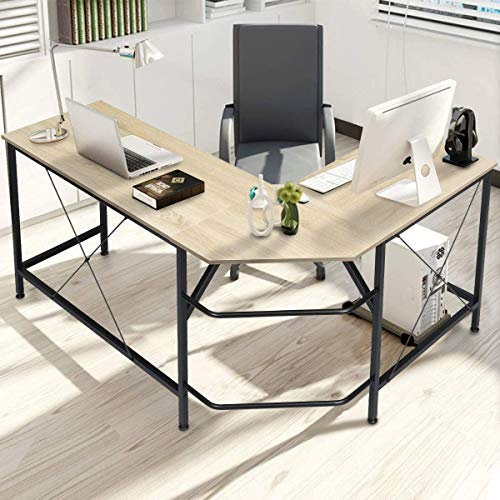 "KINGSO L Shaped Computer Desk with CPU Stand,65"" Modern Corner Desks for Home Office Workstation Wood & Metal Corner Desk Laptop Writing Desk Table (64"" x 47"" x 30"", Wood)"