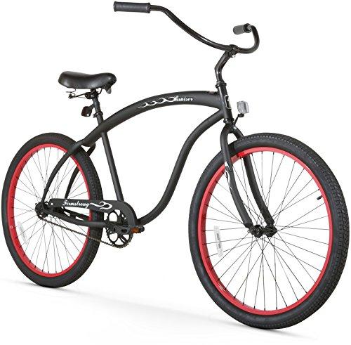 Firmstrong Bruiser Man Single Speed Beach Cruiser Bicycle, 26-Inch, Matte Black/Red Rims