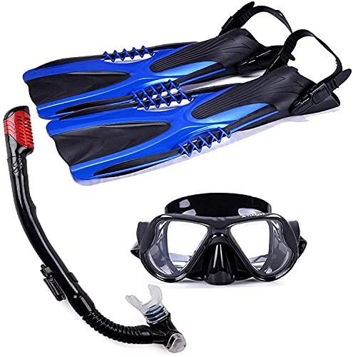 Diving mask Snorkel Diving Mask Scuba Diving Kit Mask Snorkeling Gear Fins Swimming Equipment Masks Diving Fins Set for for Adult and Kids Safety Snorkeling (Size : L)