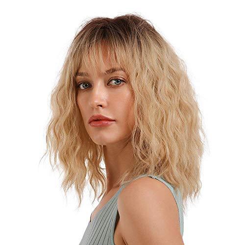 Fovermo Perruque de cheveux bouclés pour femme - Blond ombré avec racines brunes et frange - Perruque de cheveux naturels ondulés