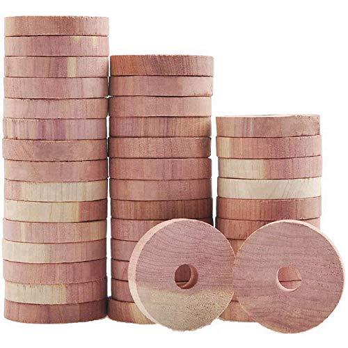 Baalaa 40 paquetes de bloques de cedro aromáticos para almacenamiento de ropa, anillos de madera de cedro natural para perchas, almacenamiento de armario y cajones