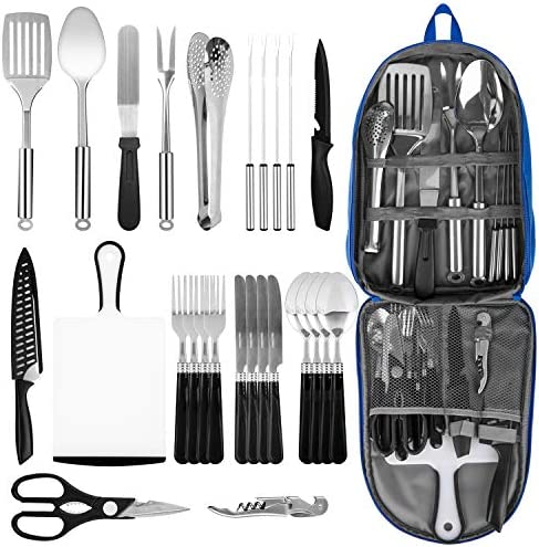 Portable Camping Kitchen Utensil Set 27 Piece Stainless Steel Outdoor Cooking and Grilling Utensil product image