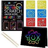 Czemo 2 Paquetes Scratch Art Paper para Niños,Kit de Papel Scratch para Manualidades DIY, Magic Scratch Book Negro ,con 2 Styluses de Madera y 6 Plantillas de Dibujo, para Niños Adultos